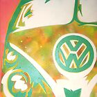 Green VW Combi Van by Laura Fowler