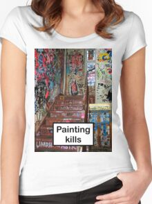 Painting kills Women's Fitted Scoop T-Shirt
