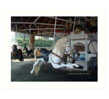 Watch Hill Carousel - White Horse Art Print
