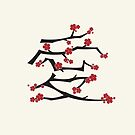Red Sakura Cherry Blossoms Chinese Ai / Love Kanji by fatfatin