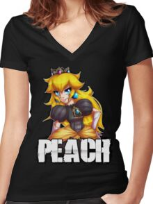 Punk Peach Women's Fitted V-Neck T-Shirt