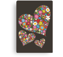 Whimsical Spring Flowers Valentine Hearts Trio Canvas Print