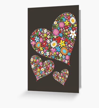Whimsical Spring Flowers Valentine Hearts Trio Greeting Card
