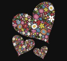 Whimsical Spring Flowers Valentine Hearts Trio Kids Tee