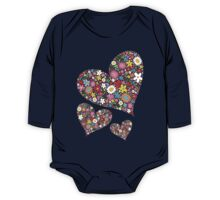 Whimsical Spring Flowers Valentine Hearts Trio One Piece - Long Sleeve