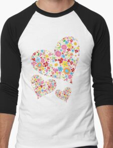 Whimsical Spring Flowers Valentine Hearts Trio Men's Baseball ¾ T-Shirt