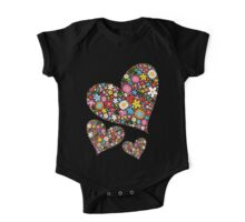 Whimsical Spring Flowers Valentine Hearts Trio One Piece - Short Sleeve