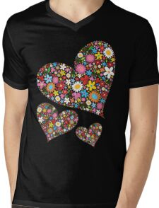 Whimsical Spring Flowers Valentine Hearts Trio Mens V-Neck T-Shirt