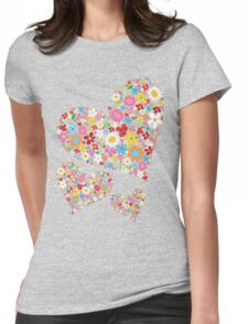 Whimsical Spring Flowers Valentine Hearts Trio Womens Fitted T-Shirt