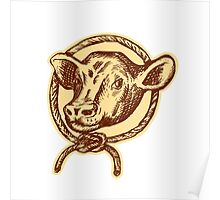 Cow Bull Head Rope Circle Etching Poster