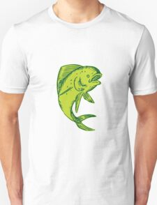 Dolphin Fish Jumping Etching T-Shirt