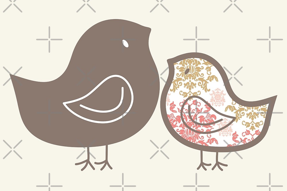 Sweet Pink Damask Mommy & Baby Chicks by fatfatin