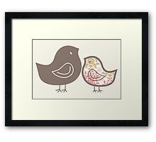 Sweet Pink Damask Mommy & Baby Chicks Framed Print