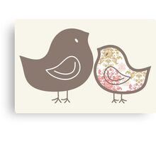 Sweet Pink Damask Mommy & Baby Chicks Canvas Print