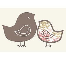 Sweet Pink Damask Mommy & Baby Chicks Photographic Print