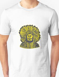 Native American Indian Chief Warrior Etching T-Shirt
