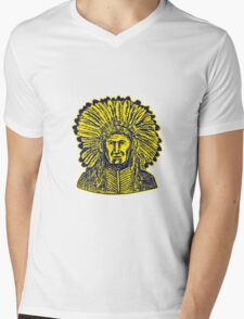 Native American Indian Chief Warrior Etching Mens V-Neck T-Shirt