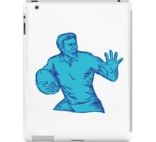 Rugby Player Running Fending Etching iPad Case/Skin