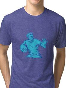 Rugby Player Running Fending Etching Tri-blend T-Shirt