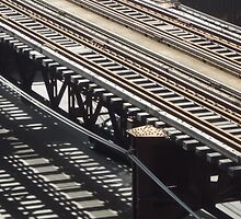 Train track shadows by Elaine Li