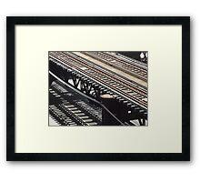 Train track shadows Framed Print