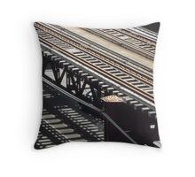 Train track shadows Throw Pillow