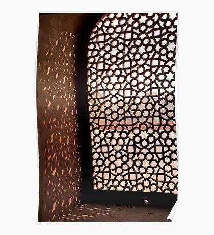 Light coming through the stone lattice at Humayun Tomb Poster