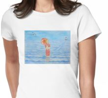 Young girl and sea I Womens Fitted T-Shirt