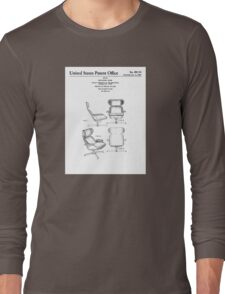 Iconic Eames Recliner/Lounger Lounge Chair Patent Drawings Long Sleeve T-Shirt