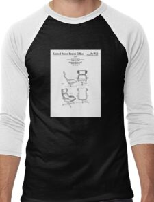 Iconic Eames Recliner/Lounger Lounge Chair Patent Drawings Men's Baseball ¾ T-Shirt