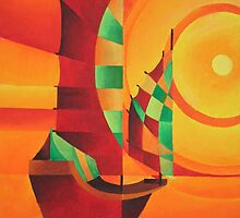 Cubist Junks on A Red Sea by taiche
