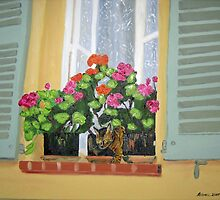 Window with Cat by RebeccaW