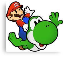 Paper Mario And Yoshi Canvas Print