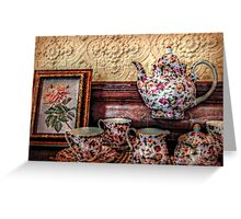 Peaches and Cream Roses Tea Set, Lambert Castle Collection Greeting Card