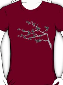Zen Black Sakura Cherry Blossoms Flowers T-Shirt