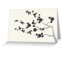 Zen Black Sakura Cherry Blossoms Flowers Greeting Card