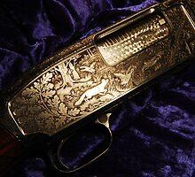 Hunting scene from Remington 12 shotgun by Wayne Cook