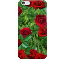 Ferns with Red Roses iPhone Case/Skin