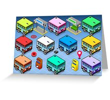 Isometric Rainbow Buses  Greeting Card