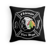 Blackhawks Chicago Fire Department Throw Pillow