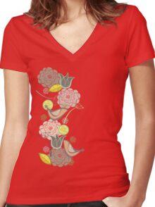 Pink Floral Potpourri Garden & Birds Women's Fitted V-Neck T-Shirt