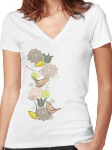 Pink Floral Potpourri Garden & Birds Women's Fitted V-Neck T-Shirt