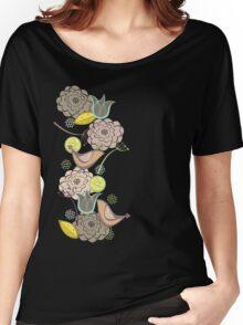 Pink Floral Potpourri Garden & Birds Women's Relaxed Fit T-Shirt