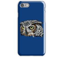 Great Horned Owl (Blue) iPhone Case/Skin