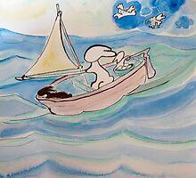 Rabbits Sail by Suzi Linden