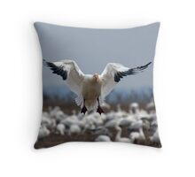 Snow Goose Landing Throw Pillow