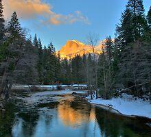 Yosemite Half Dome Winter Sunset  by Paul J. Owen