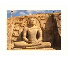 Buddha Statue in Rock Art Print
