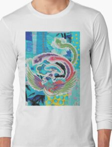 Textile Art, Blue Phoenix, fabric collage Long Sleeve T-Shirt