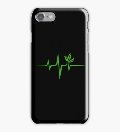 Heartbeat, Pulse Green, Vegan, Frequency, Wave, Earth, Planet iPhone Case/Skin